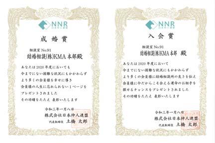 NNR成婚賞と入会賞の表彰状