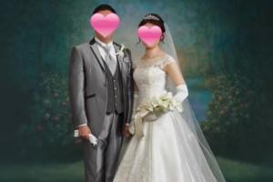成婚カップルの結婚式写真