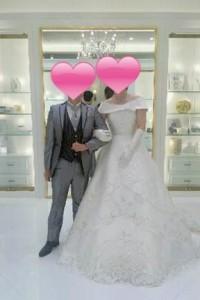 成婚カップルの衣装合わせ