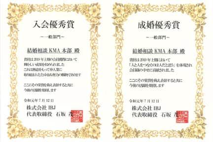 IBJ表彰、成婚優秀賞と入会優秀賞の賞状