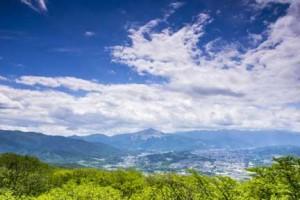 美の山公園から望む武甲山と秩父盆地